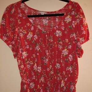 American Eagle Floral Short Sleeve Top - XL